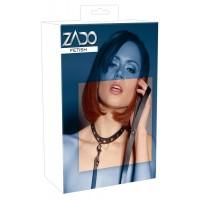 ZADO - valódi bõr szegecses nyakörv pórázzal (fekete)