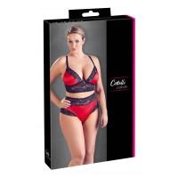 Cottelli Plus Size - virágos csipke-szatén melltartó szett (fekete-piros) XL